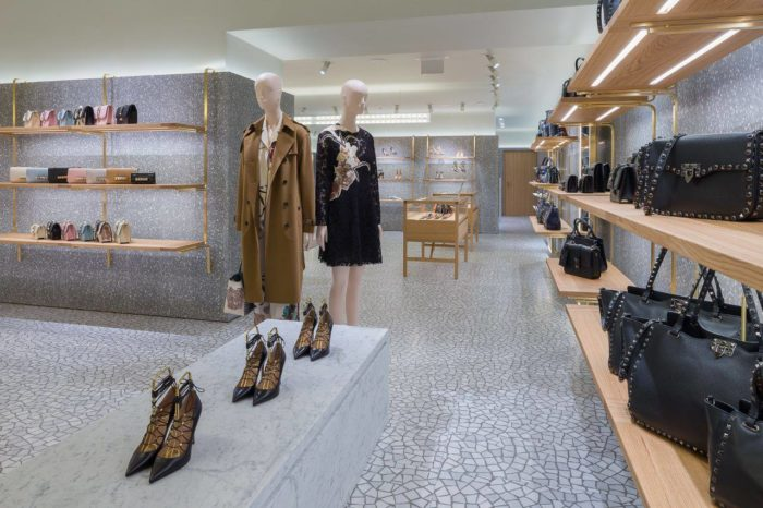 Shoe, clothing and bag displays at Valentino in Ala Moana Center