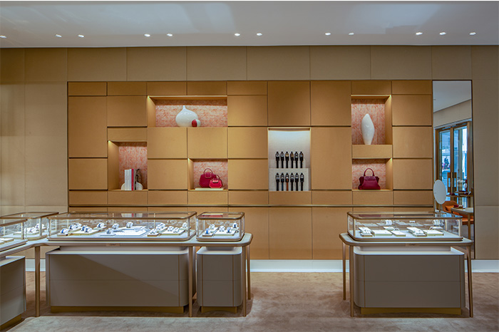 Wall and jewelry displays at Cartier Scottsdale