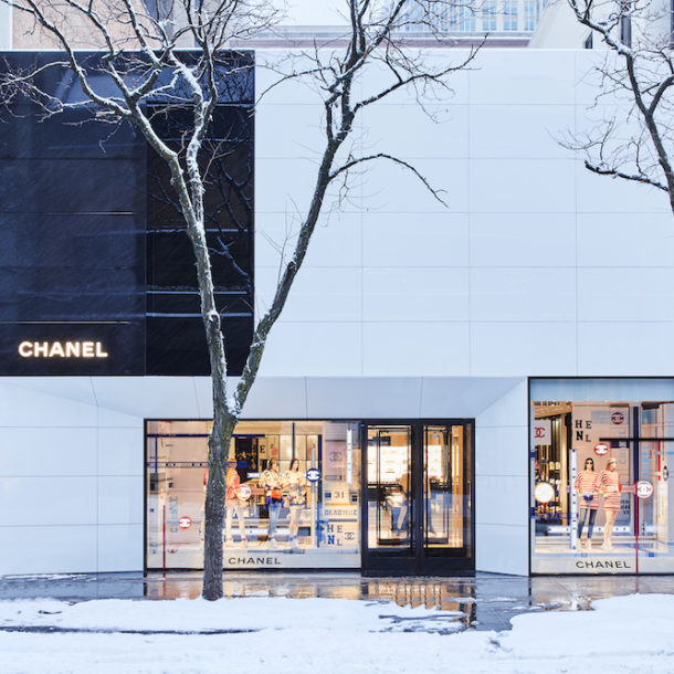 Chanel Chicago exterior with snow covered street