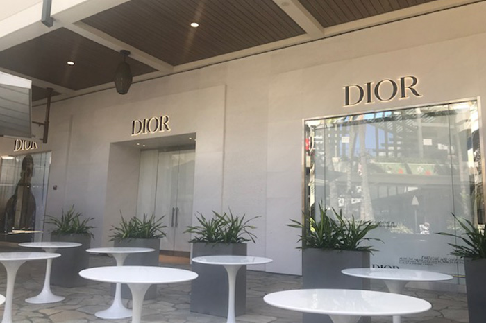 Exterior of Dior at Ala Moana before grand opening