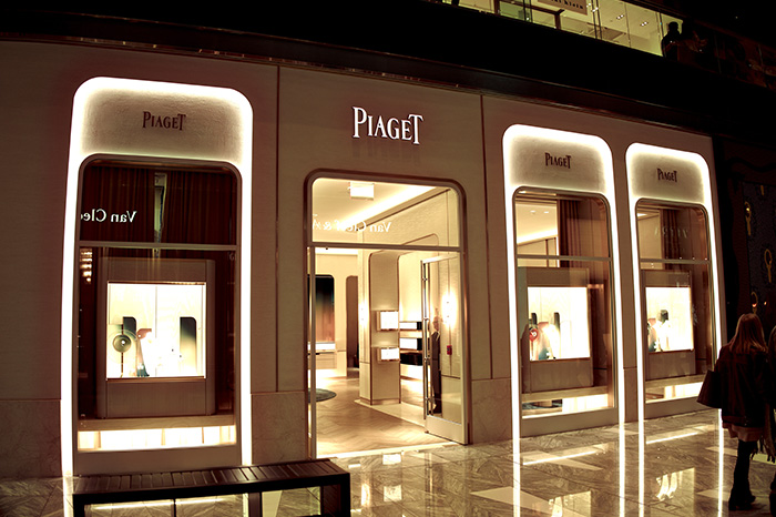 Piaget exterior entrance at night.