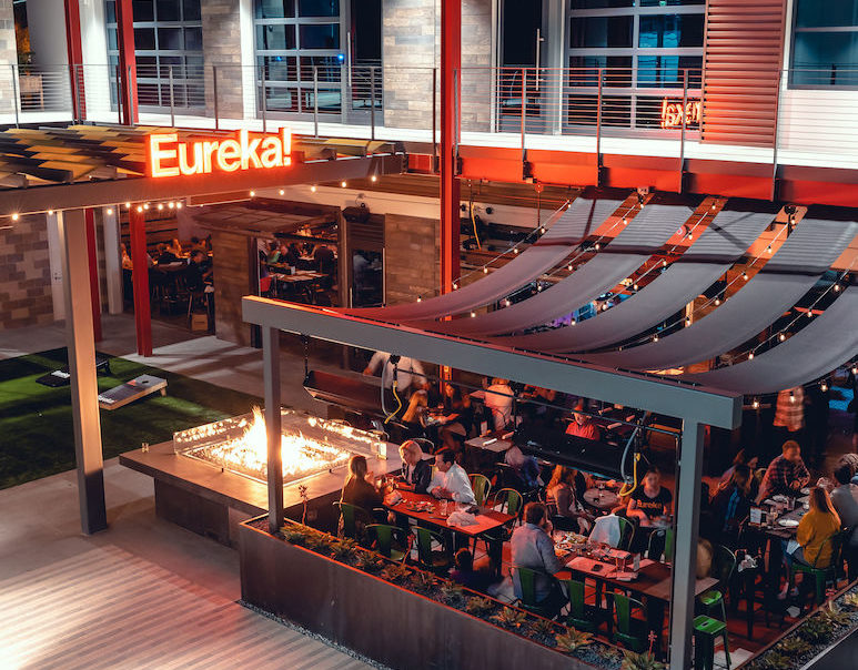Exterior seating area and patio of Eureka! Restaurant