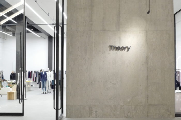 Exterior and logo of Theory retail store