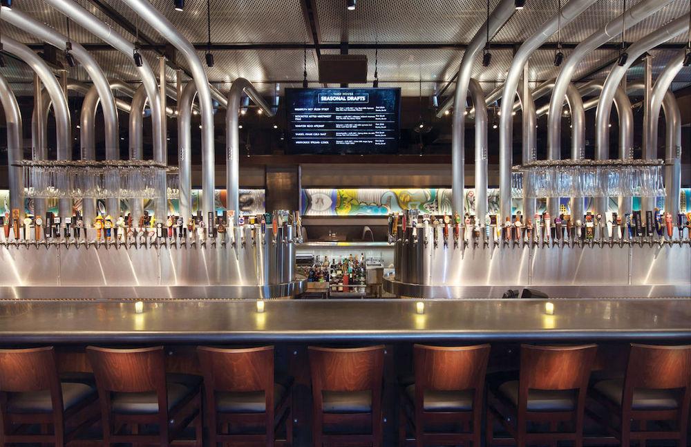 Interior bar with taps at Yard House Atlanta