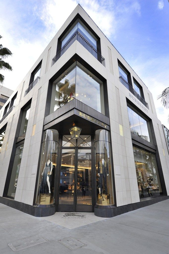 Exterior corner of Burberry Beverly Hills Flagship
