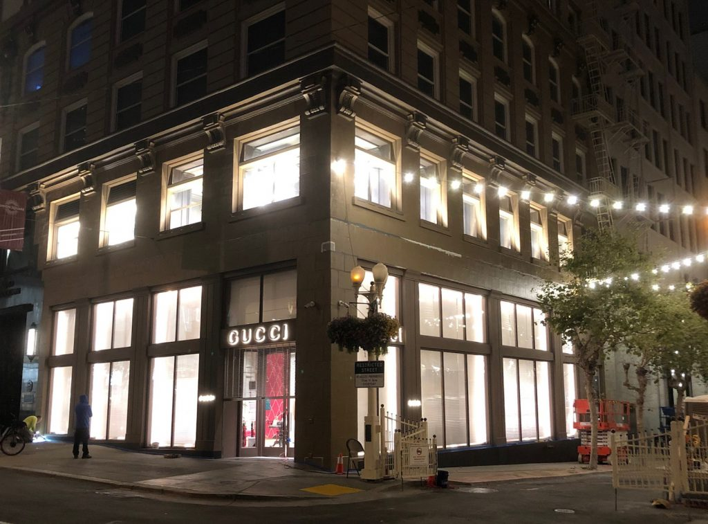 Exterior night view of Gucci San Francisco store