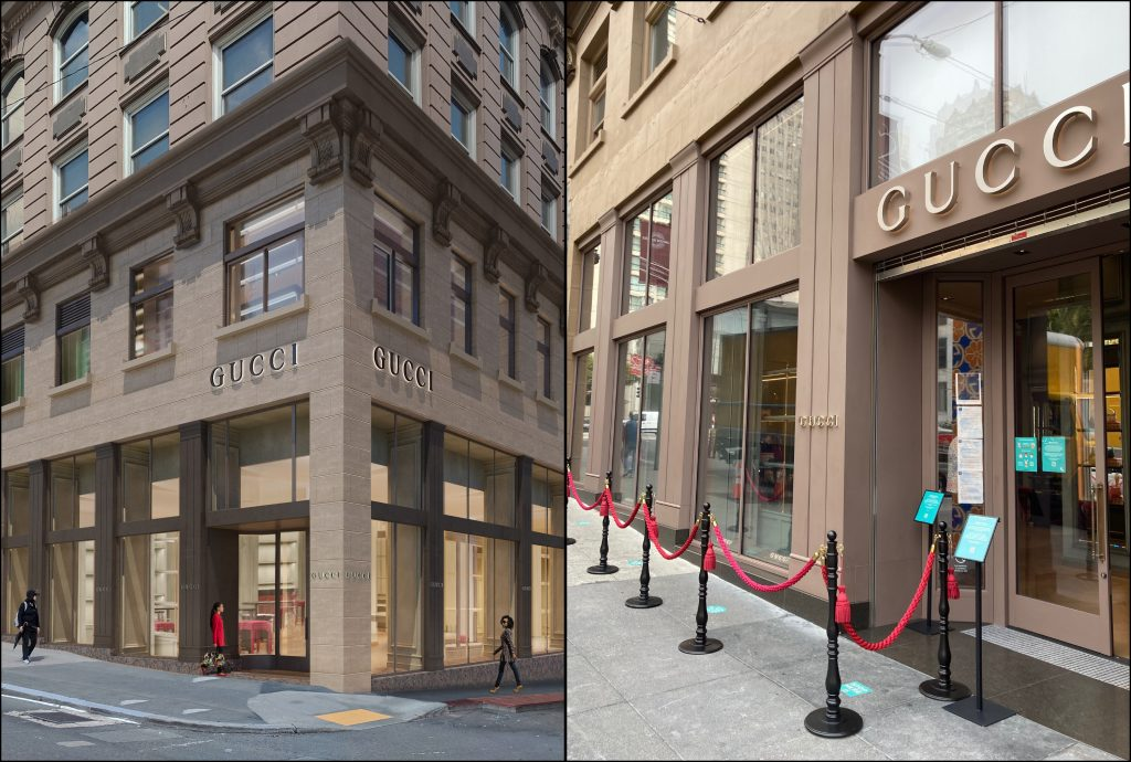 Rendering and exterior shot of Gucci San Francisco Store