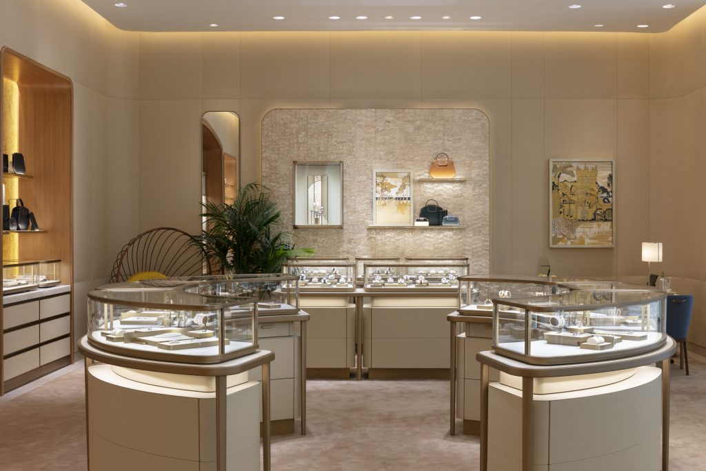 Interior view of display cases in Cartier San Diego