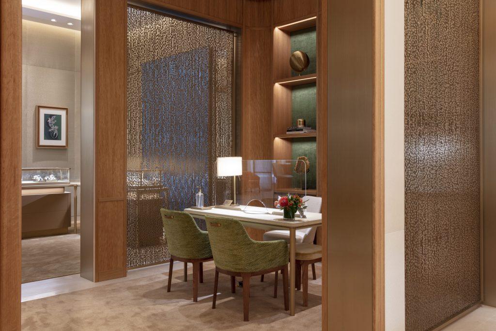 Interior view of private salon in Cartier San Diego boutique