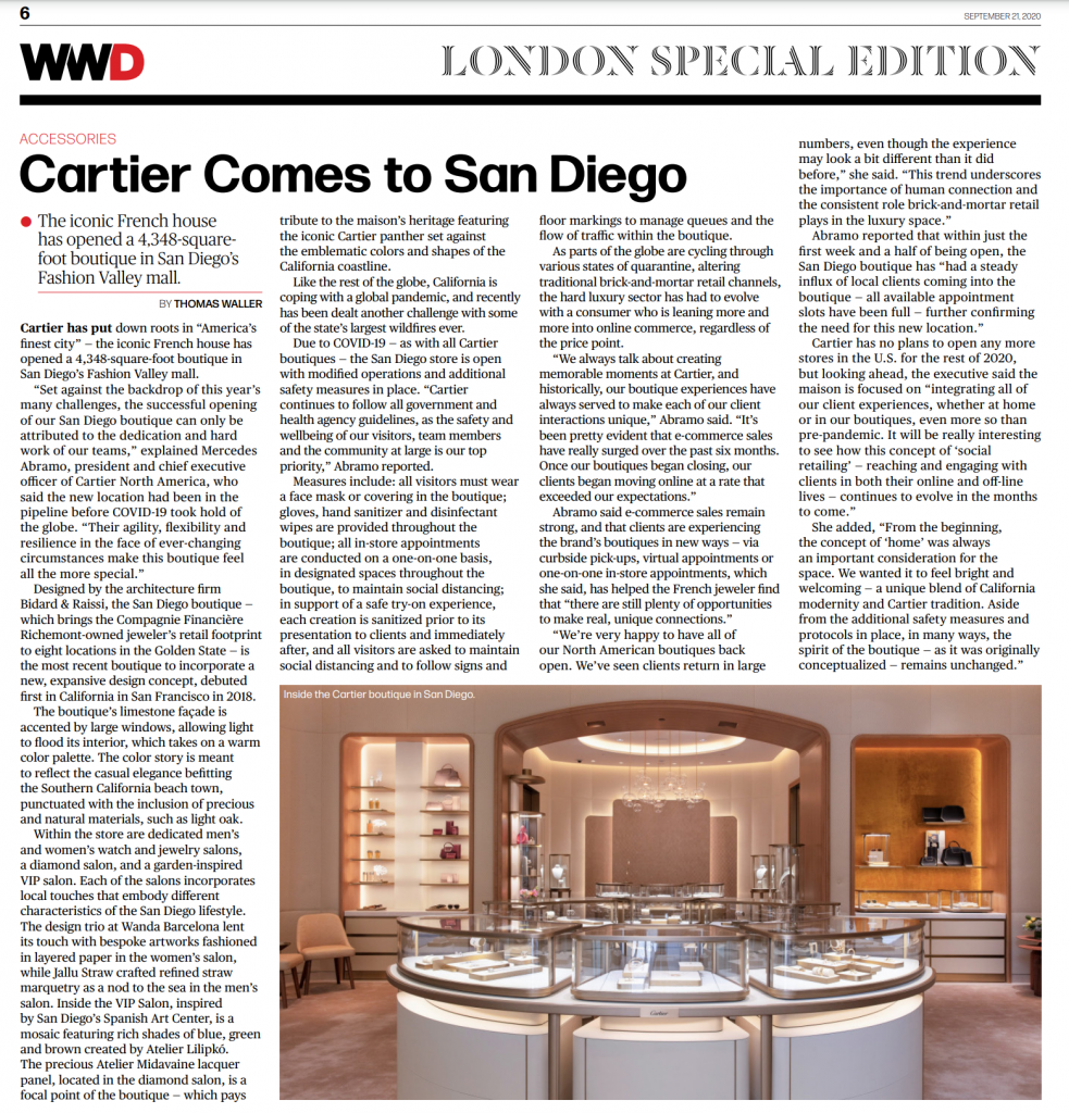 Screenshot of WWD Article on Cartier San Diego