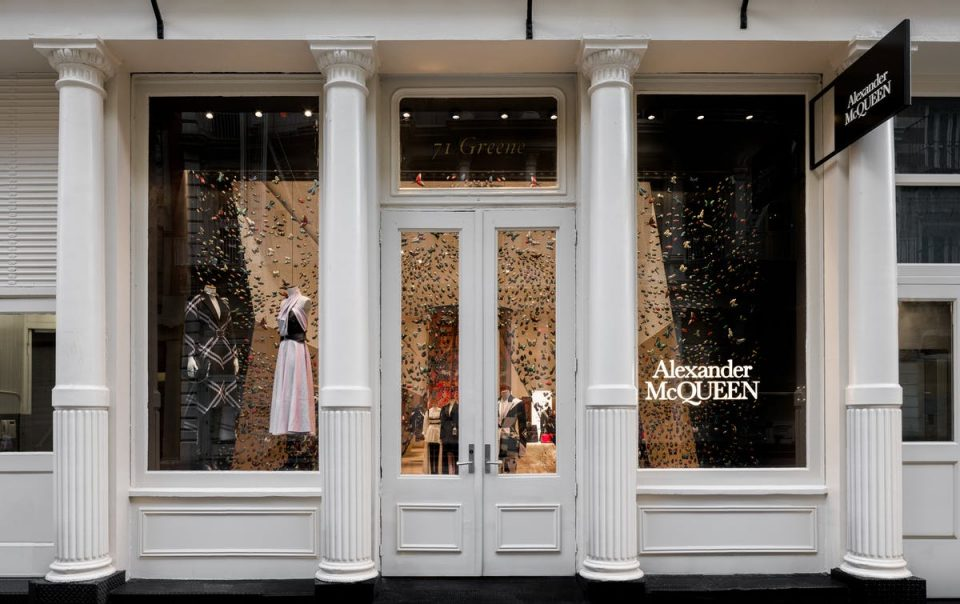 Exterior view of the Alexander McQueen store in SOHO New York, NY