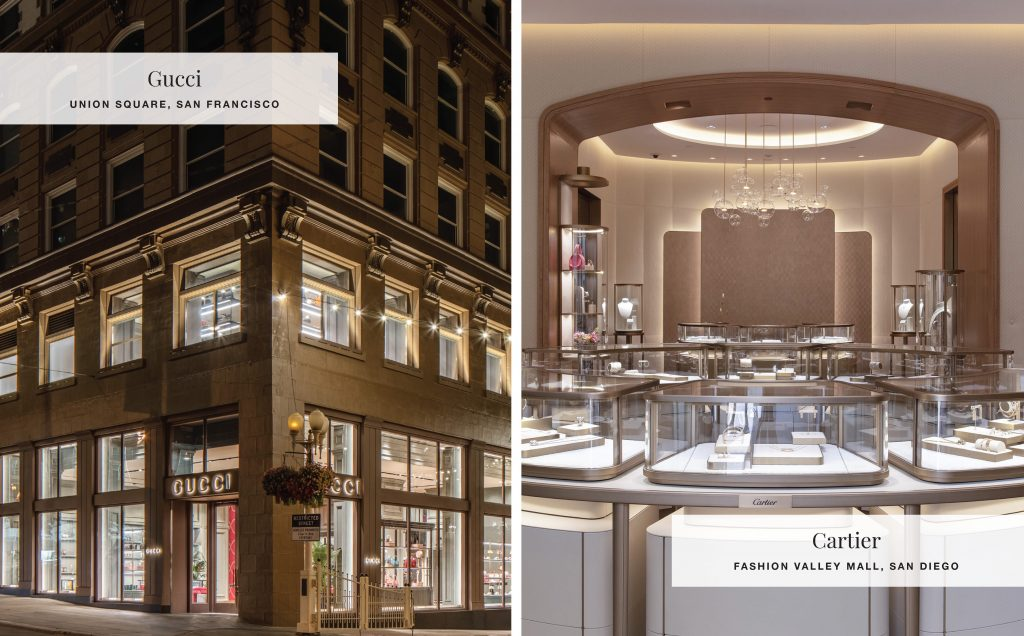 Gucci Store in San Francisco and Cartier Store in San Diego